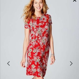 Red J. Jill Floral Crew-Neck Knit Dress